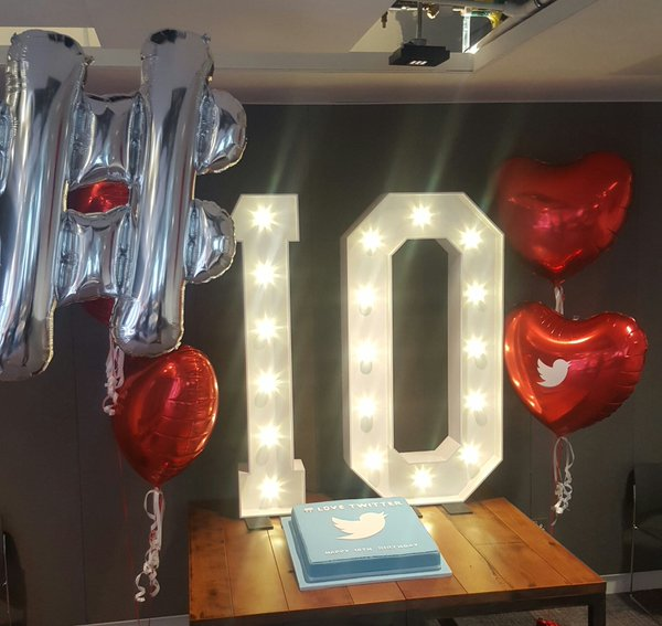 10 years twitter dublin photocall light up numbers